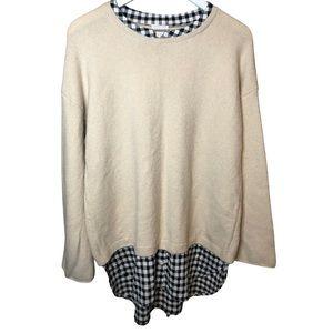 CALSON cream sweater with Plaid undershirt Medium